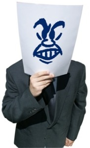 Man holding paper mask