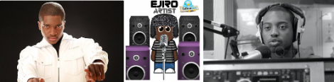 Left to right: Guvna B, Ejiro logo in headphones